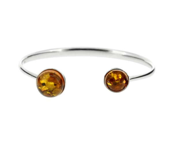 Cognac Color Baltic Amber Bracelet in Sterling Silver
