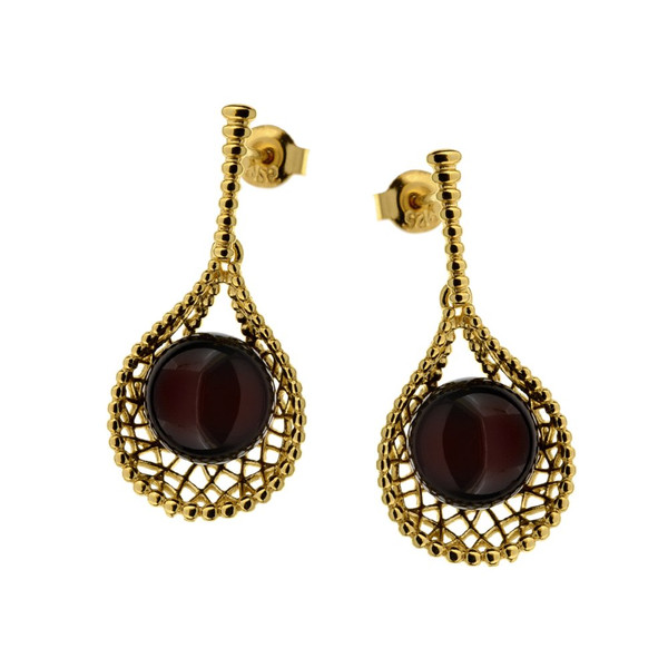 Cherry Color Baltic Amber Earrings in Rose Gold Plated Sterling Silver