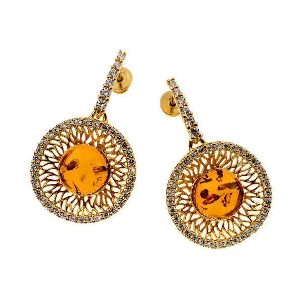 Earrings with Cognac Color Baltic Amber and CZ in Yellow Goldplated Sterling Silver