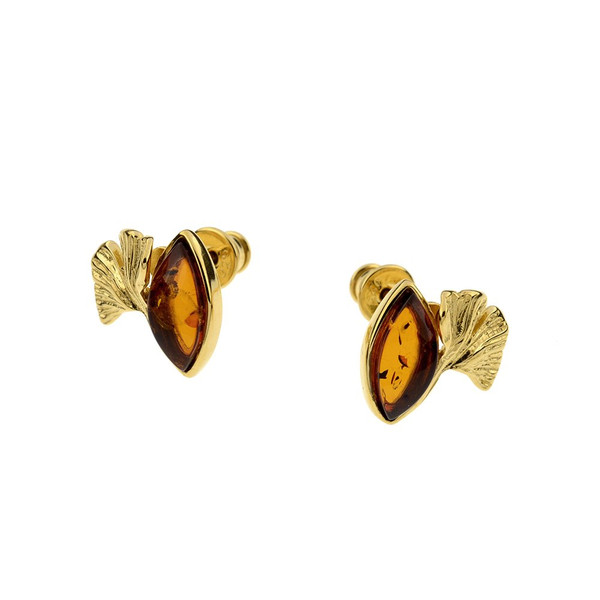 Stud Earrings with Cognac Color Baltic Amber in Yellow Goldplated Sterling Silver