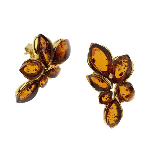 Cognac Color Baltic Amber Stud Earrings in Yellow Goldplated Sterling Silver