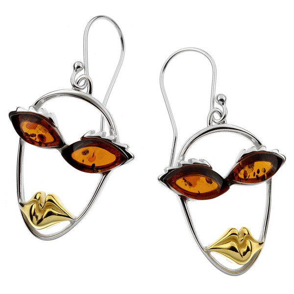 Picasso Style Collection Cognac Color Baltic Amber  Earrings in mix Sterling Silver & Yellow Gold-plated Sterling Silver