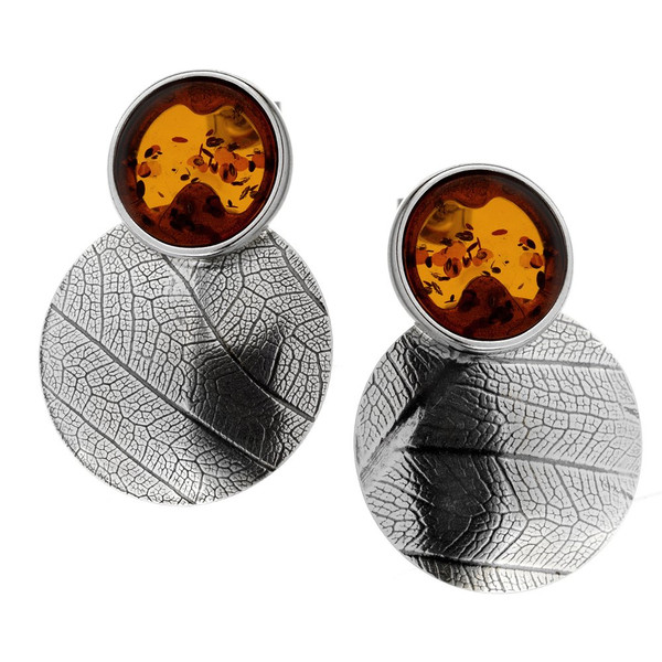 Leaf Touch Collection Big Round Earrings with Cognac Color Baltic Amber in Sterling Silver