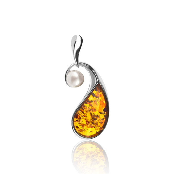 Cognac Color Baltic Amber & Pearl Pendant in Sterling Silver