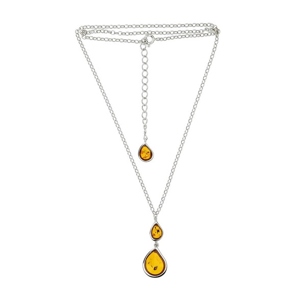 Cognac Color Baltic Amber Necklace in Sterling Silver