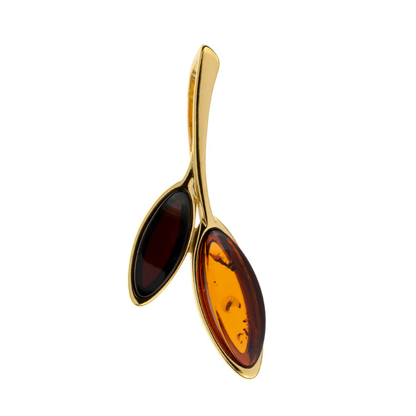 Two Color Baltic Amber Pendant in Yellow Gold-plated Sterling Silver