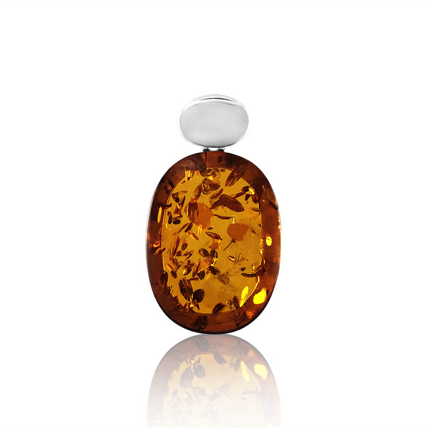 Classic Oval Shape Pendant with Cognac Color Baltic Amber in Sterling Silver