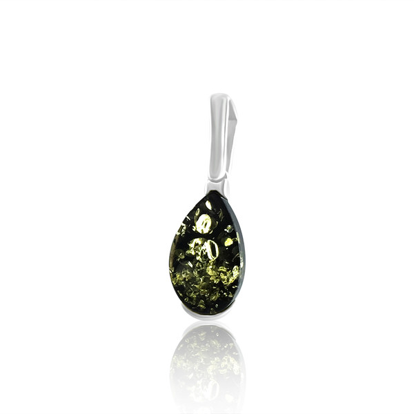 Small Drop Pendant with Green Color Baltic Amber in Sterling Silver