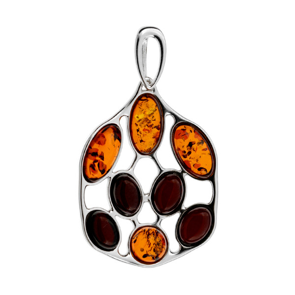 Modern abstract design Multi Color Baltic Amber Stones Pendant in Sterling Silver