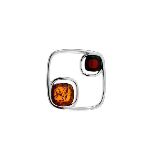 Modern design Multi Color Baltic Amber Stones Pendant in Sterling Silver