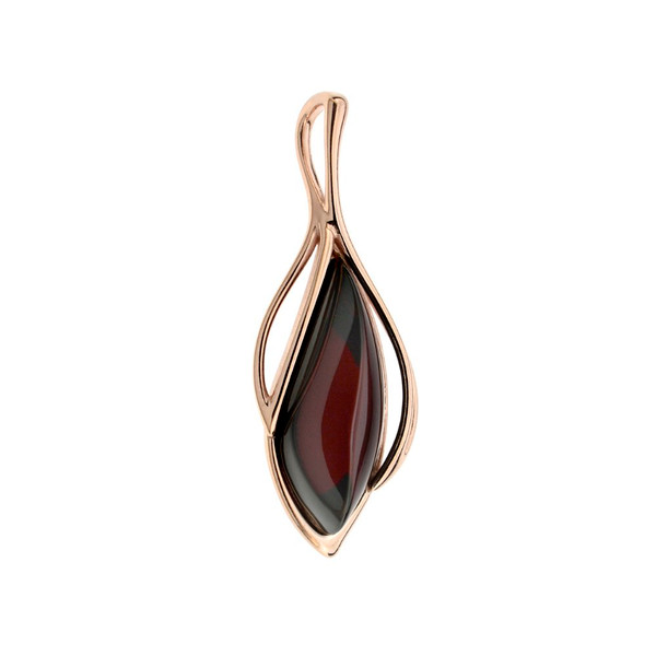 Cherry Color Baltic Amber Pendant in Rose Gold-plated Sterling Silver