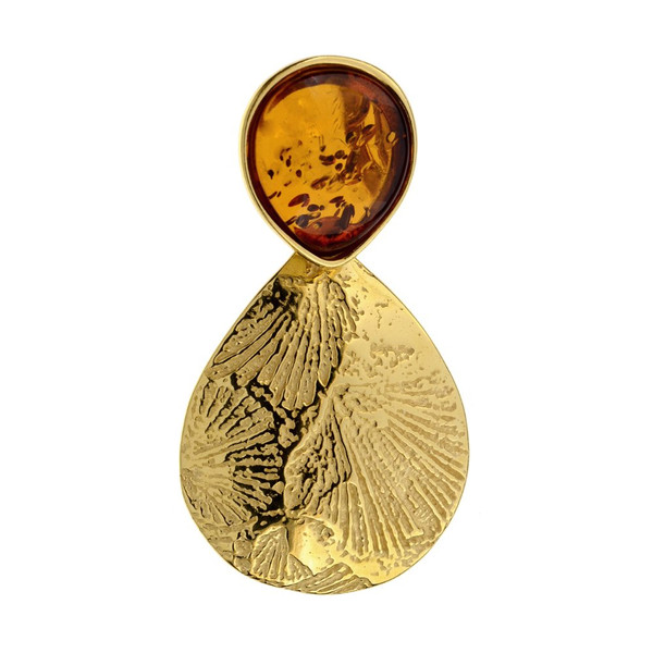 Leaf Touch Collection Teardrop Pendant with Cognac Color Baltic Amber in yellow Gold-plated Sterling Silver