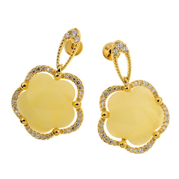 Earrings with Butterscotch Color Baltic Amber & white CZ in Yellow Goldplated Sterling Silver