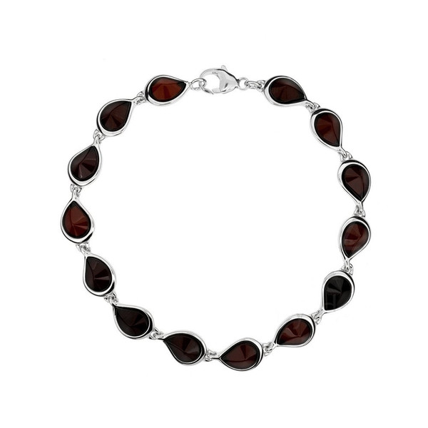 Bracelet in Sterling Silver with Cherry Color Baltic Amber W1704ch