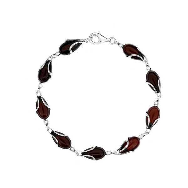Bracelet in Sterling Silver with Cherry Color Baltic Amber W2993ch