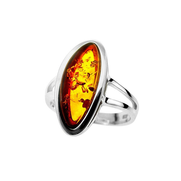 Ring in Sterling Silver with Cognac Color Baltic Amber R1983c