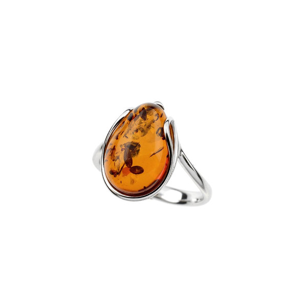Ring in Sterling Silver with Cognac Color Baltic Amber R3446c