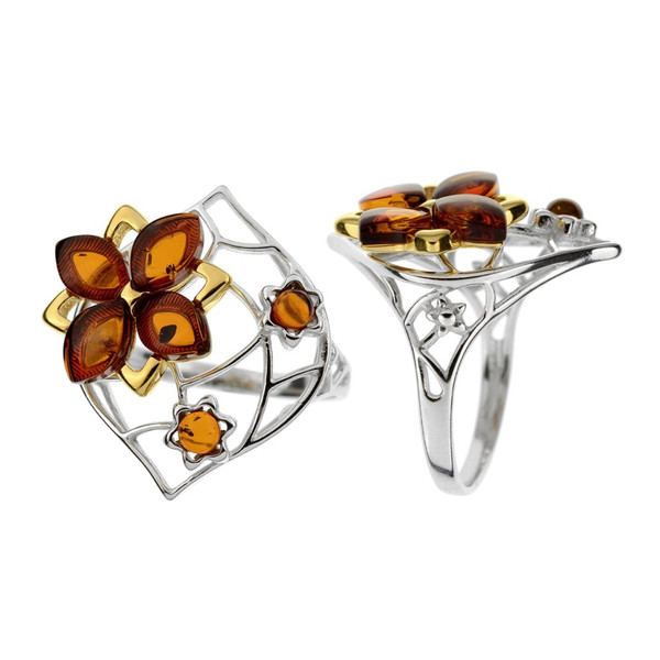 Ring in mix Sterling Silver & Yellow Gold Plated Silver with Cognac Color Baltic Amber R3571YGc