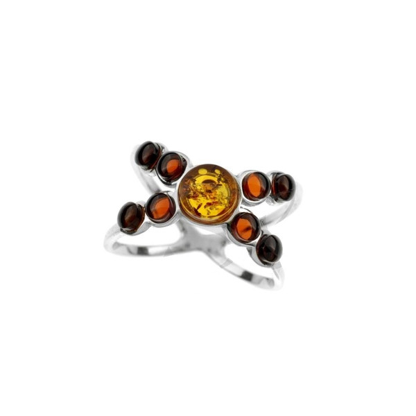 Ring in Sterling Silver with Multi Color Baltic Amber R2988mt