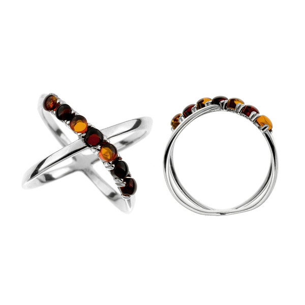 Ring in Sterling Silver with Multi Color Baltic Amber R2989mt