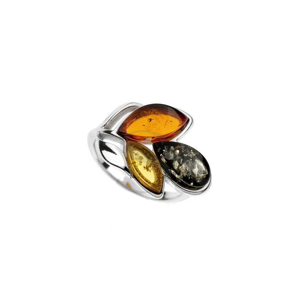 Ring in Sterling Silver with Multi Color Baltic Amber R3134mtg