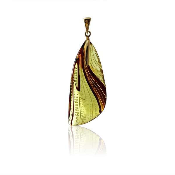 Unique Carved Baltic Amber Pendant in 14Kt Gold - DG522P