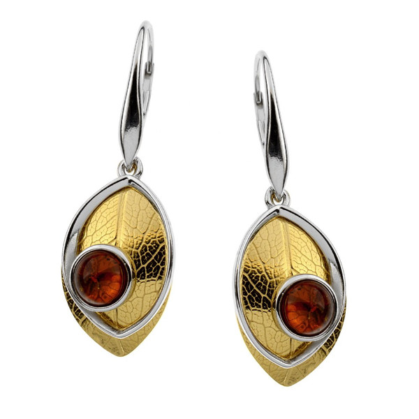 Leaf Touch Collection Cognac Color Baltic Amber Earrings in Yellow Gold Plated  Sterling Silver