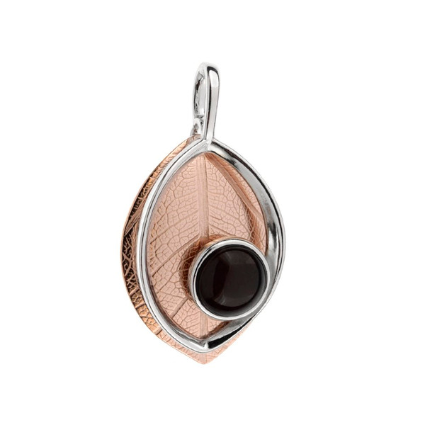 Leaf Touch Collection Pendant with Cherry Color Baltic Amber in Rose Gold-plated Sterling Silver