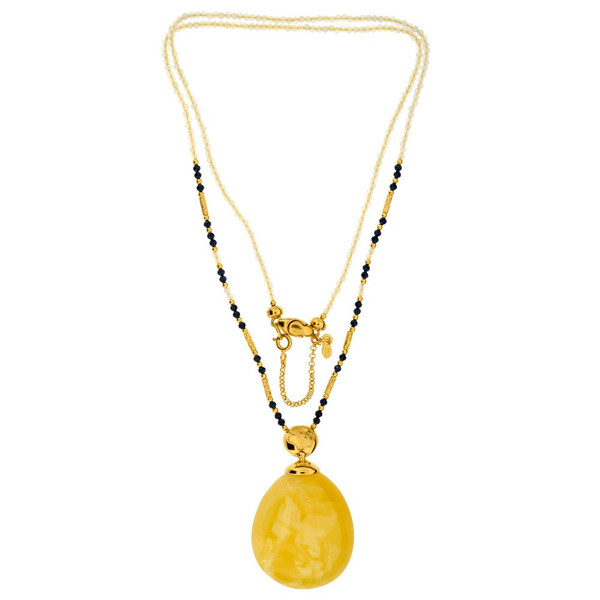 Unique Necklace with Butterscotch Color Baltic Amber stone and chalcedony with zirconia necklace in Gold-plated Sterling Silver