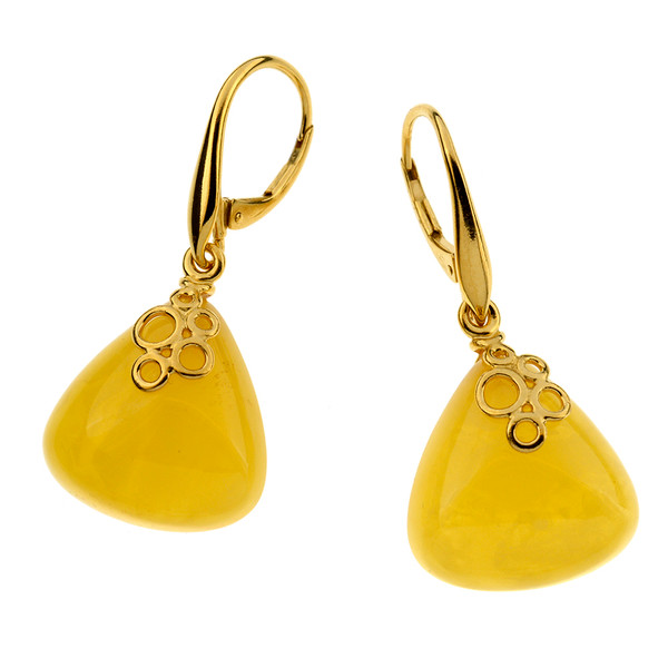 Unique Earrings with Butterscotch Color Baltic Amber in Yellow Goldplated Sterling Silver UE107