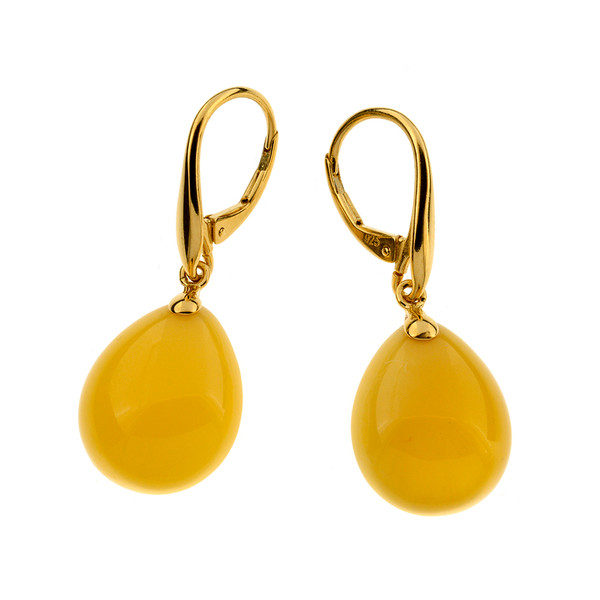 Unique Earrings with Butterscotch Color Baltic Amber in Yellow Goldplated Sterling Silver UE103