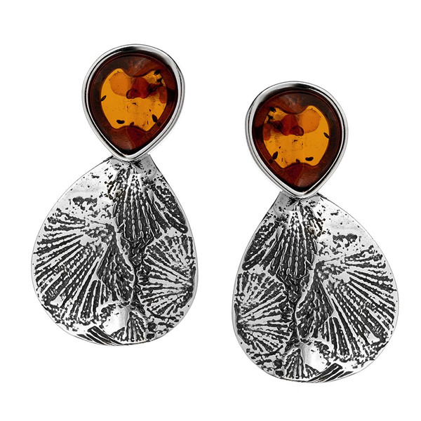 Leaf Touch Collection Cognac Color Baltic Amber stud Earrings in Sterling Silver