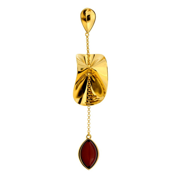 Contemporary Pendant with Cherry Color Baltic Amber in Gold Plated Sterling Silver