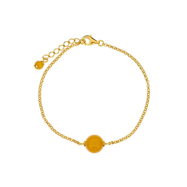 Bracelet in Yellow Goldplated Sterling Silver with Butterscotch Color Baltic Amber