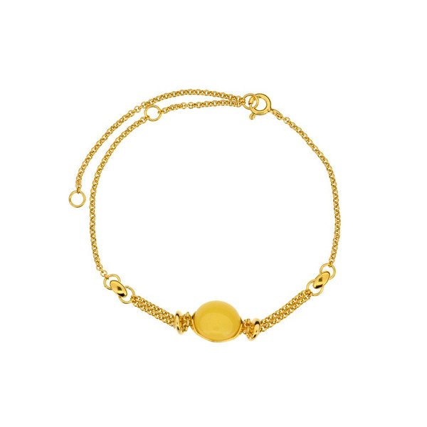 Bracelet in Yellow Gold plated Sterling Silver with Butterscotch Color Baltic Amber