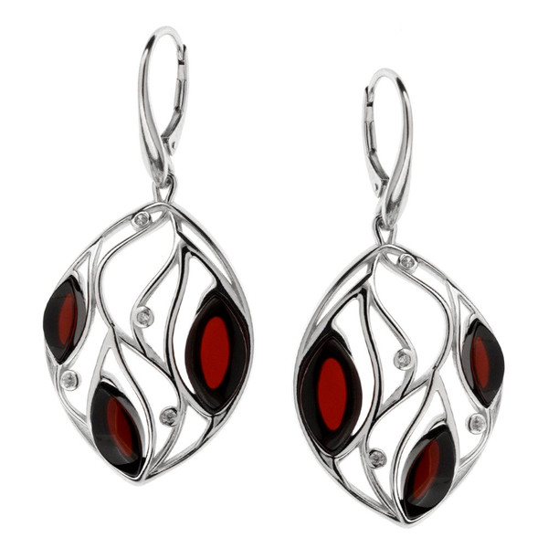 Cherry Color Baltic Amber & Cubic Zirconia Earrings in Sterling Silver