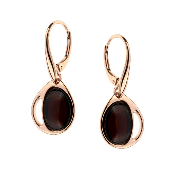 Cherry Color  Baltic Amber Earrings in Gold-plated Sterling Silver