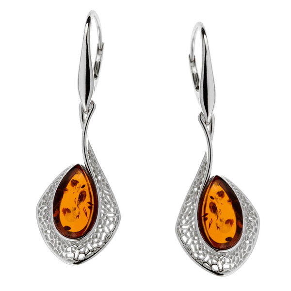 Dangle style Cognac Color Baltic Amber Earrings in Sterling Silver
