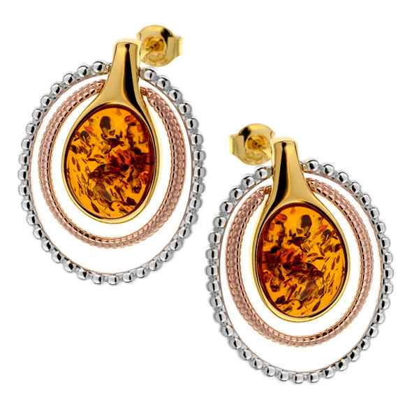 Cognac Color Baltic Amber  Earrings in Yellow Gold-plated Sterling Silver