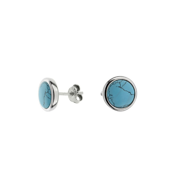 Stud Earrings with Turquoise in Sterling Silver