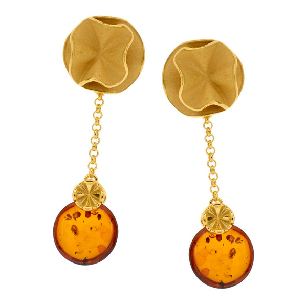 Cognac Color Baltic Amber Earrings in Yellow Gold-plated Sterling Silver 3776