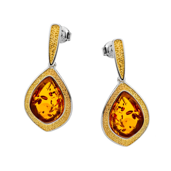 Cognac Color Baltic Amber  Earrings in Yellow Gold-plated Sterling Silver 3061