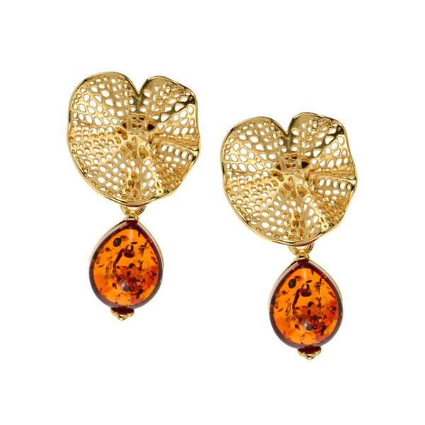 Cognac Color Baltic Amber Earrings in Yellow Gold-plated Sterling Silver 3736