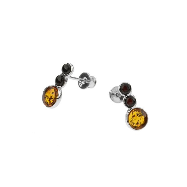 Multi-Color Baltic Amber Earrings in Sterling Silver 2988