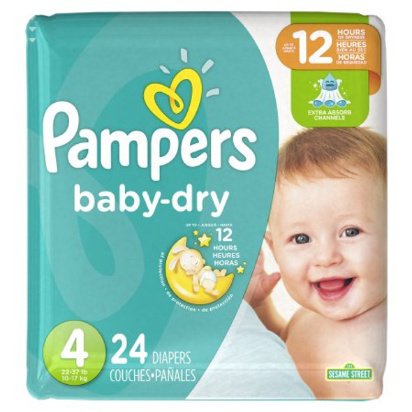 Unisex Baby Diaper Pampers® Baby Dry™Size 4  Disposable Heavy Absorbency