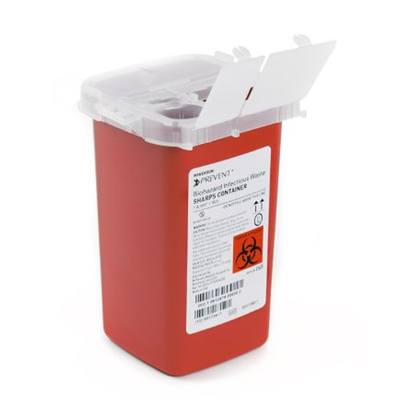 Sharps Container McKesson Prevent® 6-1/4 H X 4-1/4 W X 4-1/4 D Inch 1 Quart Red