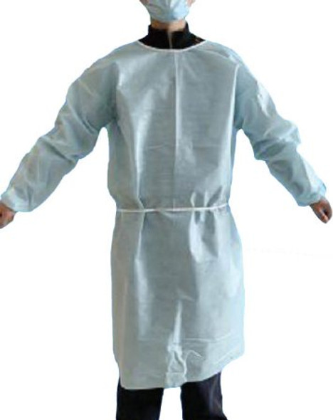 Protective Procedure Gown Adult Large Blue NonSterile Disposable 40 GSM fabric