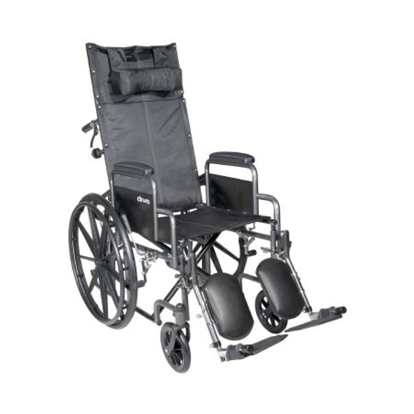 Reclining Wheelchair McKesson Desk Length Arm Removable Padded Arm Style Composite Mag Wheel Black Upholstery 18 Inch Seat Width 300 lbs. Weight Capacity