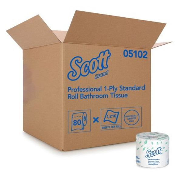 Toilet Tissue Scott® Essential White 1-Ply Standard Size Cored Roll 1210 Sheets 4 X 4-1/10 Inch
