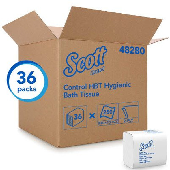 Toilet Tissue Scott® Control HBT White 2-Ply Standard Size Folded 250 Sheets 4-1/2 X 8-1/10 Inch
